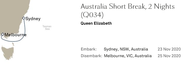 Cunard Australia short breaks 2 nights 612