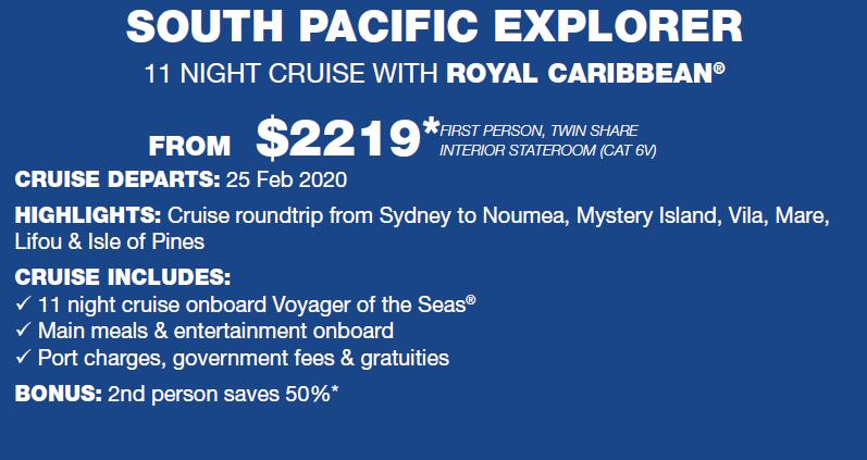 South pacific explorer 11 night royal carribean
